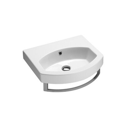 Ceramic U-Shaped Vessel Bathroom Sink with Overflow Faucet Mount: No Hole