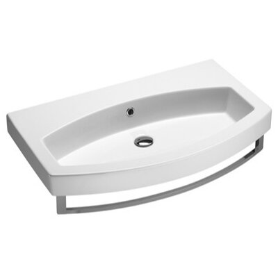Losagna Curved Ceramic 32 Bathroom Sink with Overflow Faucet Mount: No Hole