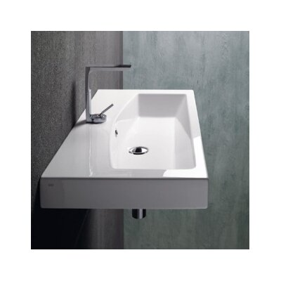 Losagna Ceramic Rectangular Vessel Bathroom Sink with Overflow Faucet Mount: Single Hole