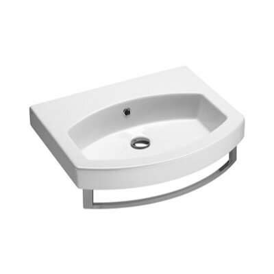 Curved Ceramic Losagna 24 Wall mount Bathroom Sink with Overflow Faucet Mount: No Hole