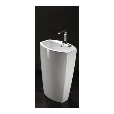 Losagna Ceramic Floor 22 Pedestal Bathroom Sink with Overflow Faucet Mount: Single Hole