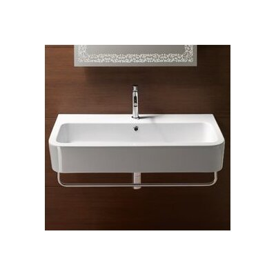 Traccia Curved Ceramic 35 Bathroom Sink with Overflow Faucet Mount: 8 Centers