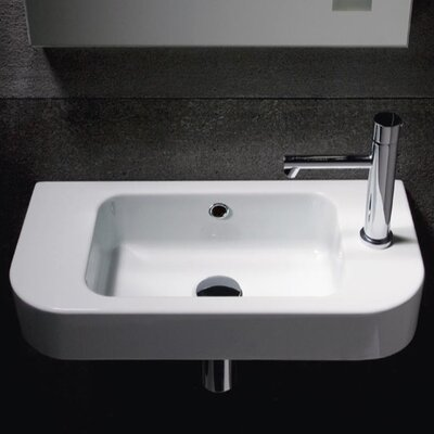 Traccia Ceramic 22 Wall Mount Bathroom Sink with Overflow Faucet Mount: Single Hole (Right)