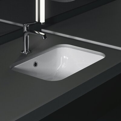 Panorama Ceramic Rectangular Undermount Bathroom Sink with Overflow