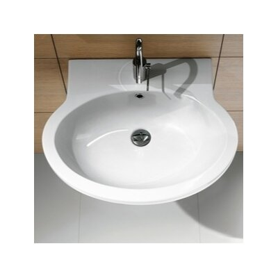 Panorama Oval Ceramic 22 Wall Mount Bathroom Sink with Overflow Faucet Mount: 8 Centers