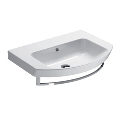 Panorama Curved Ceramic 26 Bathroom Sink with Overflow Faucet Mount: No Hole