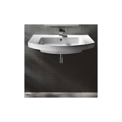 Modo Ceramic Rectangular Drop-In Bathroom Sink with Overflow Faucet Mount: 8 Centers