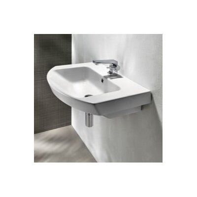 Panorama Curved Ceramic 26 Bathroom Sink with Overflow Faucet Mount: Single Hole