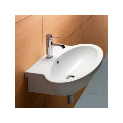 Panorama Oval Ceramic 24 Wall Mount Bathroom Sink with Overflow Faucet Mount: Single Hole