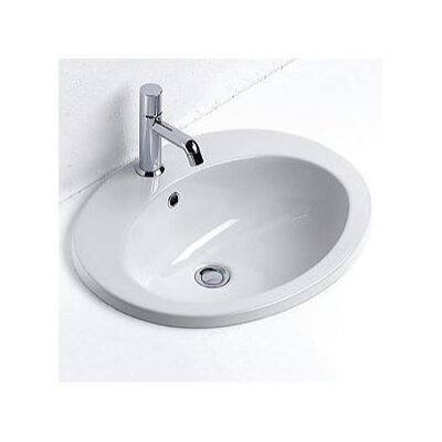 Contemporary Ceramic Circular Drop-In Bathroom Sink with Faucet and Overflow Faucet Mount: Single Hole