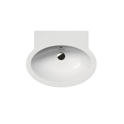 Panorama Oval Ceramic 24 Wall Mount Bathroom Sink with Overflow Faucet Mount: 8 Centers