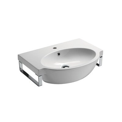 Panorama Curved Ceramic 26 Wall Mount Bathroom Sink with Overflow Faucet Mount: Single Hole