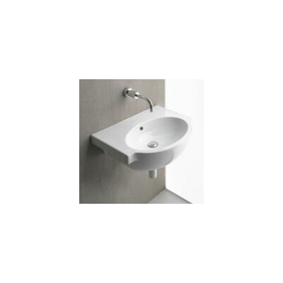Panorama Curved Ceramic 26 Wall Mount Bathroom Sink with Overflow Faucet Mount: No Hole