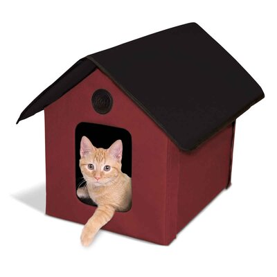 Outdoor Heated Barn Cat House Color: Maroon
