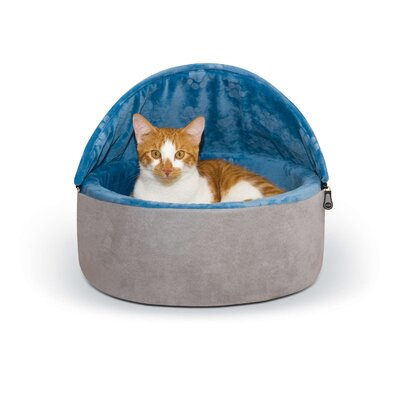 Self-Warming Kitty Hooded Bed Size: Small (16 W x 16 D x 12.5 H), Color: Gray/Blue