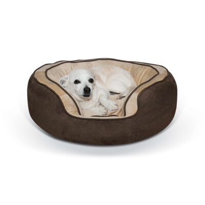 Round Plush Dog Bolster Size: Medium (30 W x 24 D x 10 H), Color: Chocolate/Tan