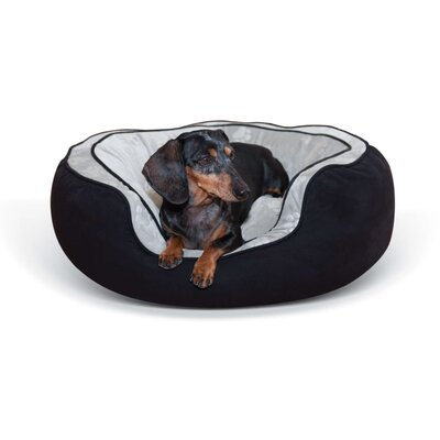 Round Plush Dog Bolster Size: Large (35 W x 29 D x 12 H), Color: Black/Gray