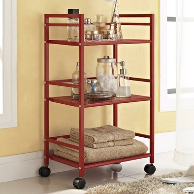 Altra Marshall Three Shelf Rolling Utility Cart - Finish: Red