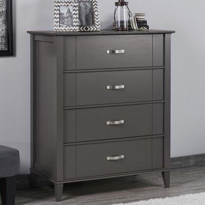 Myles 4 Drawer Dresser Color: Dark Gray/Light Brown Oak