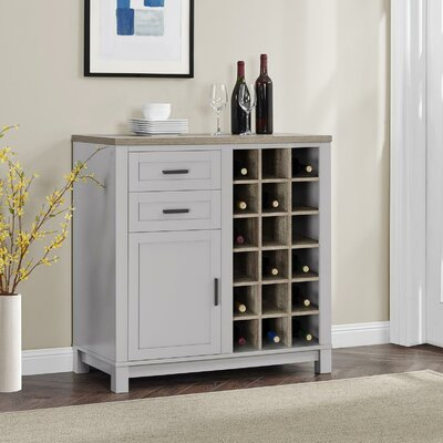 Callowhill Bar Cabinet with Wine Storage Color: Gray