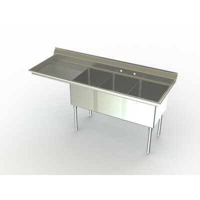 Deluxe NSF 70 x 27 Triple Service Sink Left
