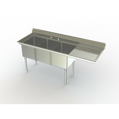 Deluxe NSF 70 x 27 Triple Service Sink Right