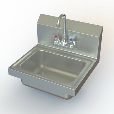 NSF 17 x 15 Single Hand Sink with Faucet