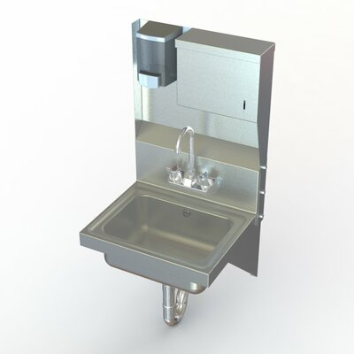 NSF 17 x 15 Single Wall Mount Utility Hand Sink with Faucet