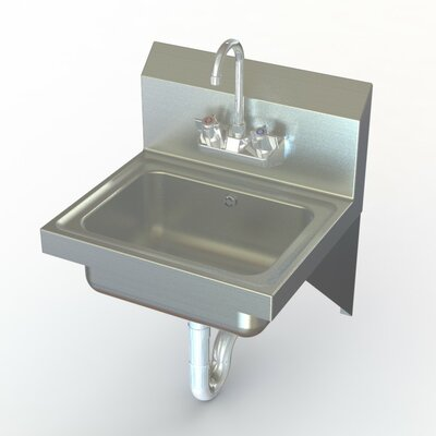 NSF 17 x 15 Single Wall Mounted Commercial Hand Sink with Faucet