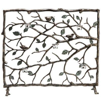 Bird and Branch Single Panel Aluminum Fireplace Screen 33488