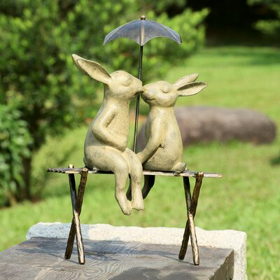 Bunny Lovers on Bench Statue 33518