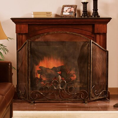 No credit financing Fleur de Lis 3 Panel Iron Fireplace...