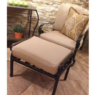 Edina Ottoman with Cushion Fabric: Teak, Finish: Black
