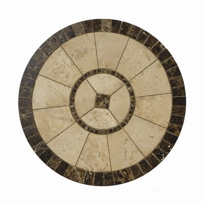 Fiona 30 Round Top in Travertine and Marble Natural Stone