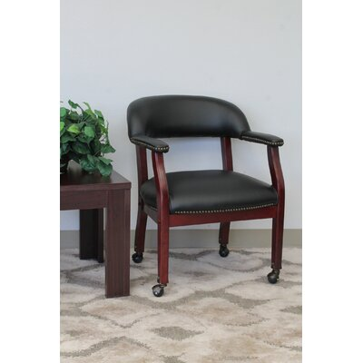 Pershore Vinyl Guest Chair Color: Black, Casters: Yes