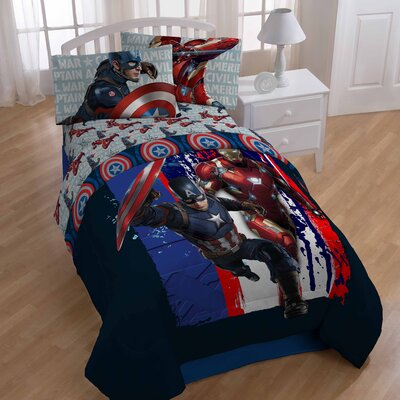 Captain America Civil War Lightning Reversible Twin Comforter