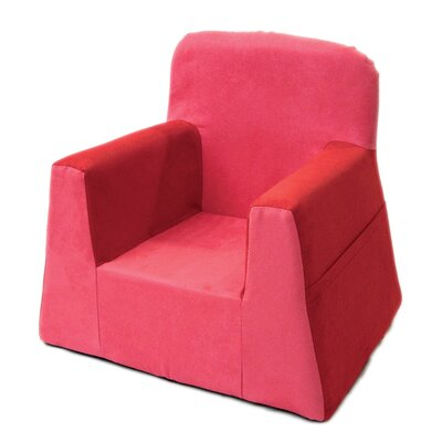 Little Reader Box Cushion Armchair Slipcover Upholstery: Red