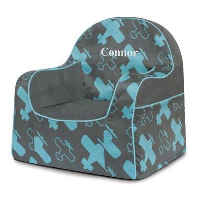 Little Reader Planes Personalized Kids Foam Chair with Storage Compartment PKFFLRBP