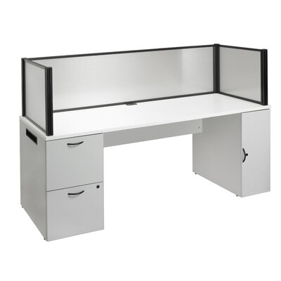 Office in a Box Desk with Privacy Screen and Bookcase Product Image 1021