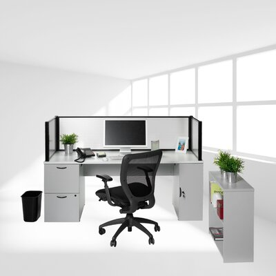 Office in a Box Desk with Privacy Screen and Bookcase