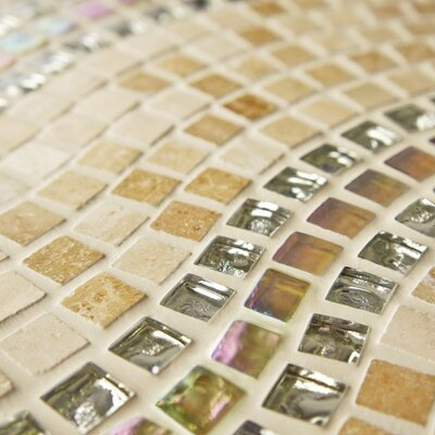 Sierra 0.563 x 0.563 Glass/Stone/Metal Mosaic Tile in Polished Beige