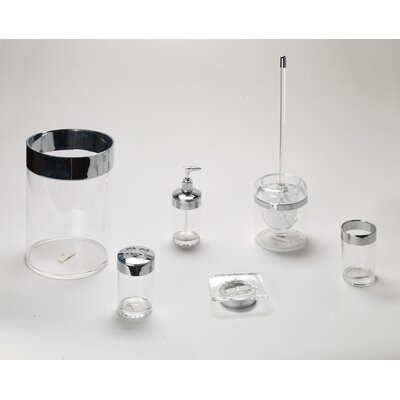 Carnation Home Fashions Clear Acrylic Bath Accessories with Chrome Trim Collection (6 Pieces)