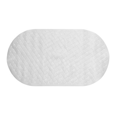 Brittni Weave Look Vinyl Bath Tub Mat, Size 15x27 Color: White