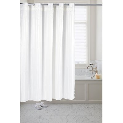 Pre Hooked� Satin Stripe Shower Curtain Color: White