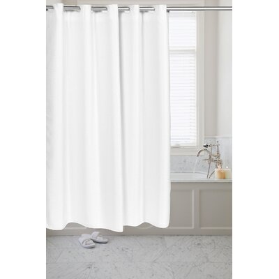 Pre Hooked� Waffle Weave Shower Curtain Color: White