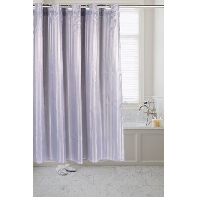 Pre Hooked� Satin Stripe Shower Curtain Color: Pewter