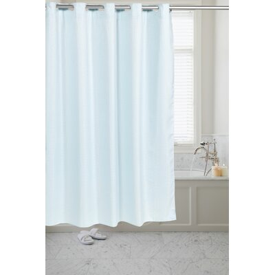 Pre Hooked� Waffle Weave Shower Curtain Color: Spa Blue