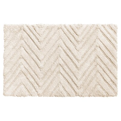 Eldridge Chevron Weave 100% Cotton Bath Mat Color: White