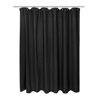 Waffle Weave 100% Polyester Shower Curtain Color: Black
