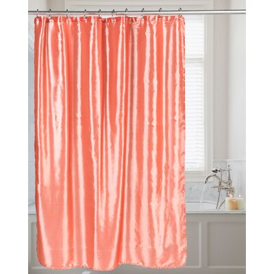 Shimmer Faux Silk Shower Curtain Color: Salmon